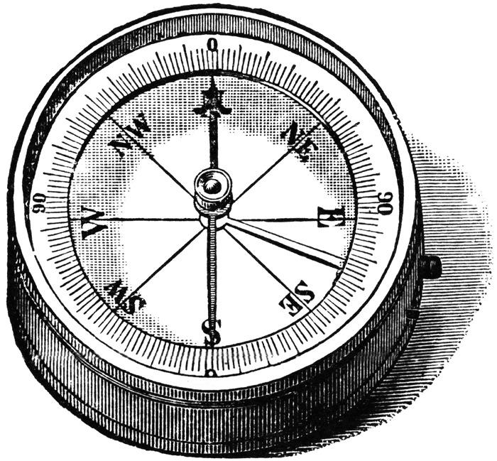 Ace of swords tarot card compass