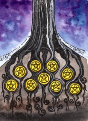 Nine of Pentacles, Tarot of the Trees