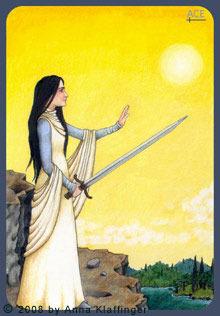 Queen of Swords Anna K Tarot, by Anna Klaffinger