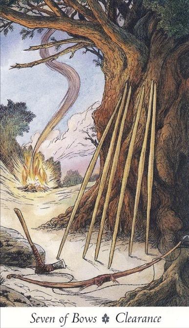 Seven of Bows Wildwood Tarot