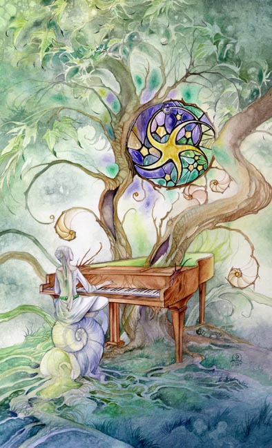 Nine of Pentacles, from the Shadowscapes Tarot by Stephanie Piu-Mun Law