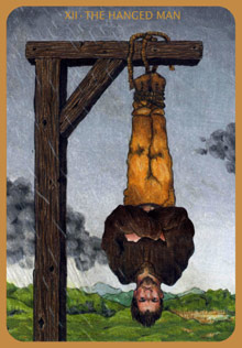The Hanged Man tarot card, from the Anna K Tarot by Anna Klaffinger