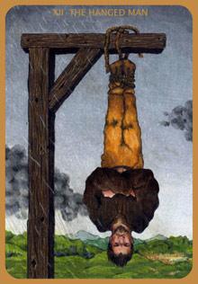 The Hanged Man tarot card, from the Anna K Tarot by Anna Klaffinger