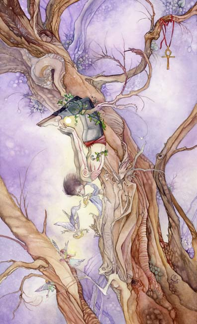 The Hanged Man tarot card, from the Shadowscapes Tarot by Stephanie Piu-Mun Law