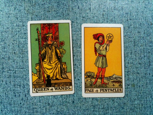 Tarot Court Cards - Queen of Wands and Page of Pentacles
