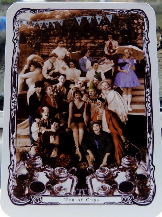 Ten of Cups, from the Streampunk Tarot by Charissa Drengsen