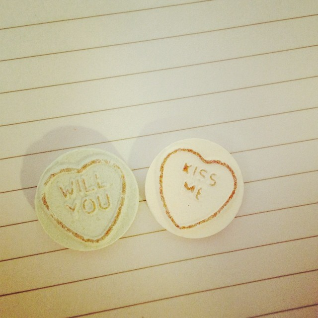 Will you kiss me... Love hearts left on my desk :D