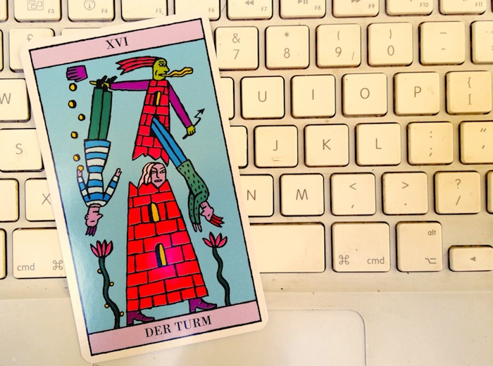 The Tower tarot card, from the Kitty Kahane Tarot