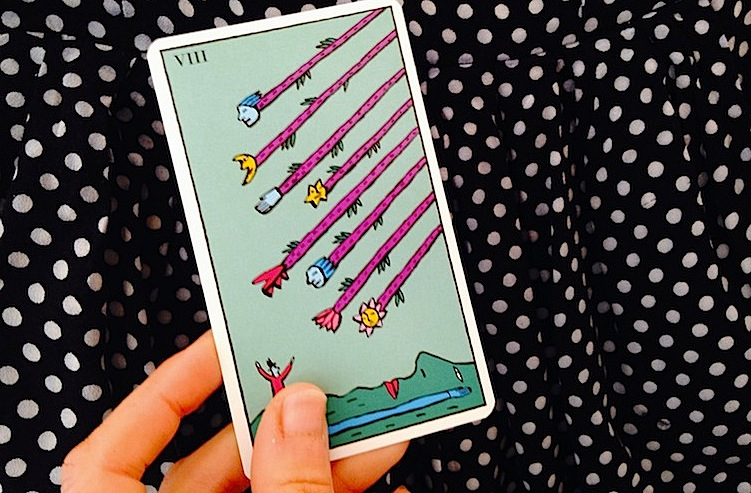 Eight-of-wands-tarot-card-Kitty-Kahane-Tarot