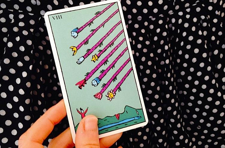 Eight-of-wands-tarot-card-Kitty-Kahane-Tarot