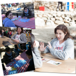 Pictures of awesome queer people doing tarot readings at A-Camp