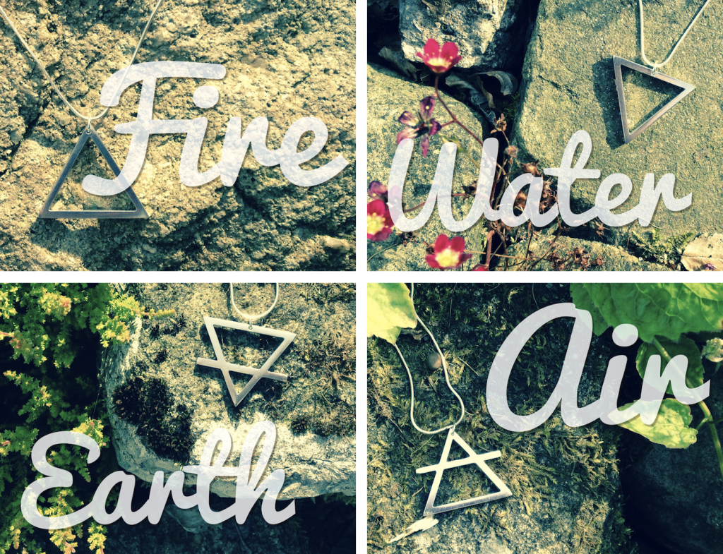 Fire Water Earth Air - images of four pewter pendants