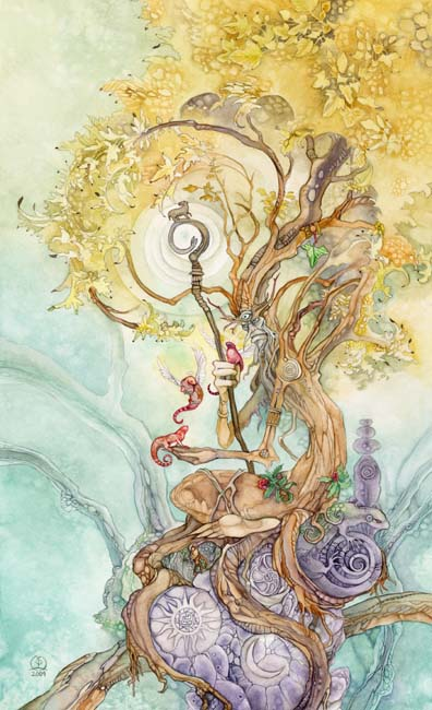 The Hierophant tarot card from the Shadowscapes Tarot, showing an old, bent tree with autumnal-coloured leaves and the face of an old man. He or she holds a walking stick with a lamp at the top and the card draws you in as if it's storytime.