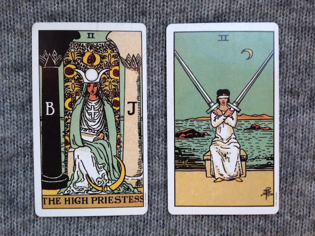 two-of-swords-and-high-priestess-moon-tarot-card