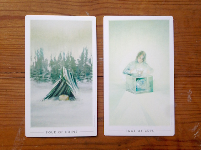 page-of-cups-fountain-tarot-four-of-coins