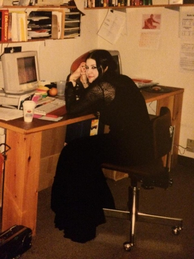 Me as a magazine intern and aspiring writer in my teenage goth years in the 1990s