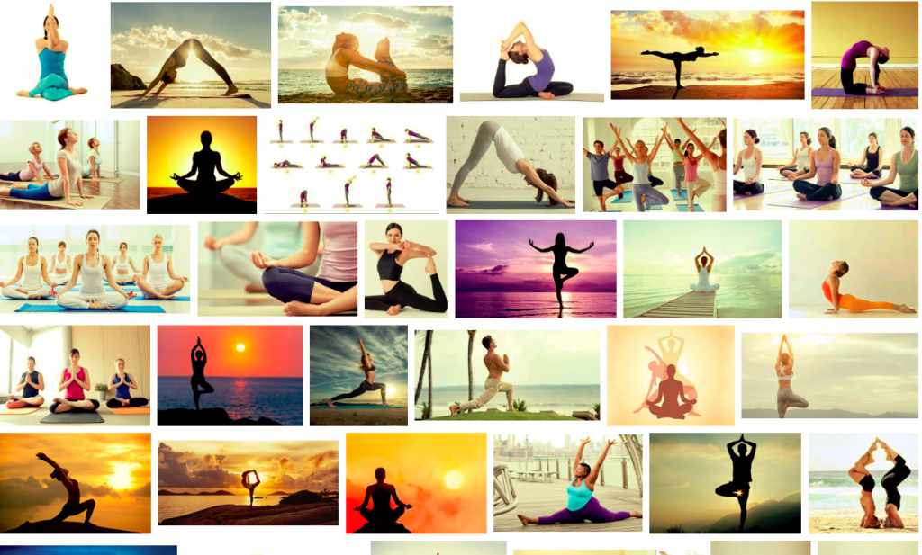 Screenshot of a Google image search for yoga, showing 30 pictures of thin white people in various asana.